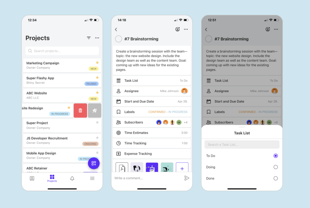 3 Screenshots of ActiveCollab mobile app