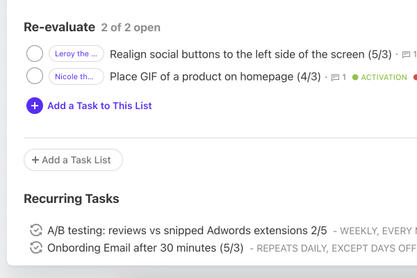 creating recurring tasks.