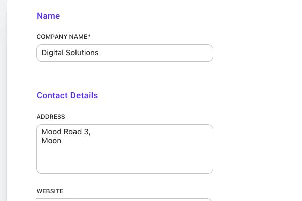 client company details