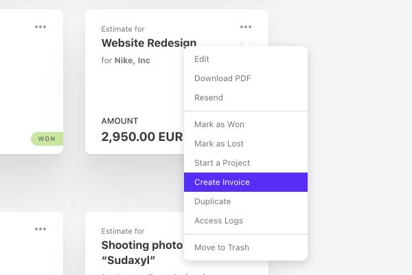 create invoice estimate client