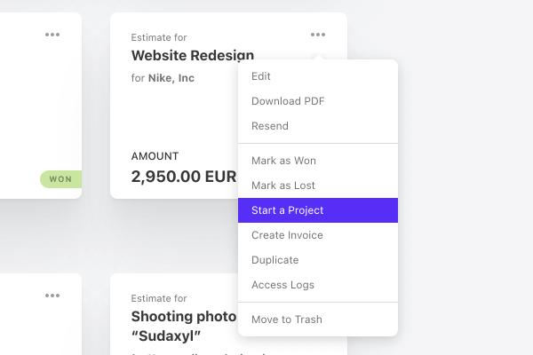 create project estimate client