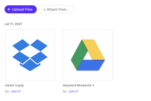 attach files from Google or Dropbox accounts.