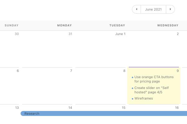 personal calendar.