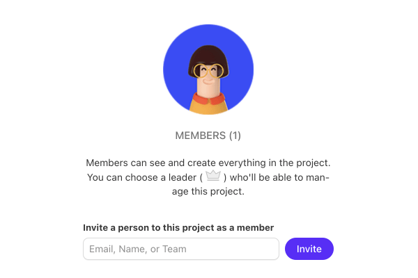 invite team members and clients to your projects.