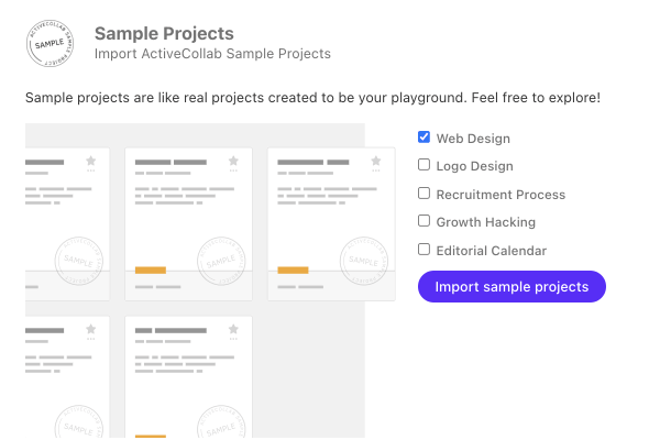 Import sample projects.