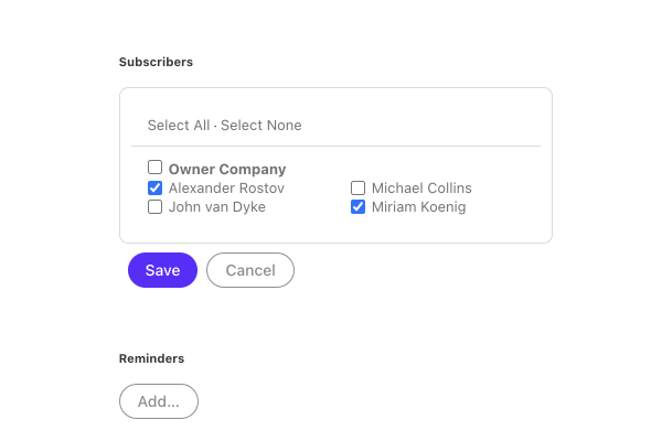 add subscribers to tasks