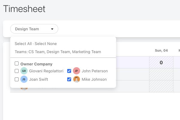 filter timesheet by team