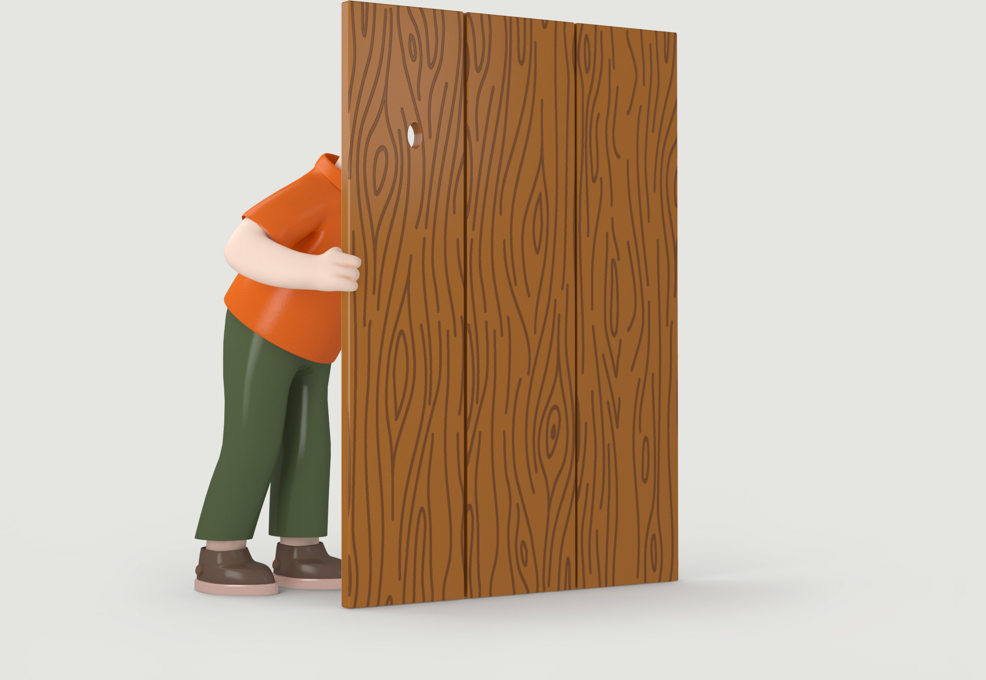 Man peeking through door